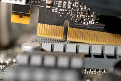 Put video card to motherboard Stock Images