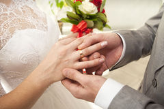 He Put the Wedding Ring on Her. Finger royalty free stock photos