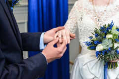 He Put the Wedding Ring on Her Royalty Free Stock Photo