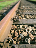 Put your ear on the track. Old rail track in Basel, Switzerland stock images
