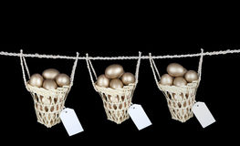 Put your eggs on diferrent baskets with copy space Stock Images