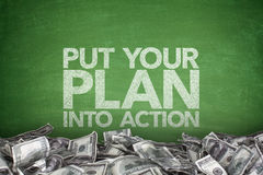 Put your plan into action on blackboard Stock Photos