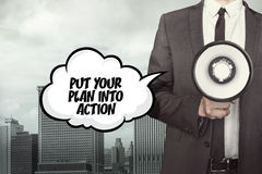 Put your plan into action text on speech bubble with businessman Royalty Free Stock Photo
