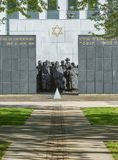 PUTEAUX, FRANCE - MAY 10, 2015:  memorial of the martyrs of the Holocaust in Puteaux on which it is writing in French and Hebrew l Stock Photography