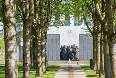 PUTEAUX, FRANCE - MAY 10, 2015:  memorial of the martyrs of the Holocaust in Puteaux on which it is writing in French and Hebrew. Language (to the martyrs of Stock Image