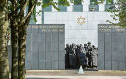 PUTEAUX, FRANCE - MAY 10, 2015:  memorial of the martyrs of the Holocaust in Puteaux on which it is writing in French and Hebrew. Language (to the martyrs of Royalty Free Stock Image
