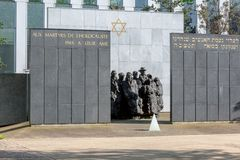 PUTEAUX, FRANCE - MAY 10, 2015:  memorial of the martyrs of the Holocaust in Puteaux on which it is writing in French and Hebrew. Language (to the martyrs of Stock Images