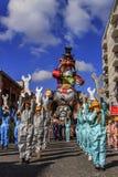 Putignano Apulia, Italien - Februari 15, 2015: karnevalflöten Karnevalritt: allegorical flöte av Ilva på den Putignano karnevalet Arkivbild