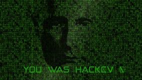 Putin's Face Over Matrix Style Background