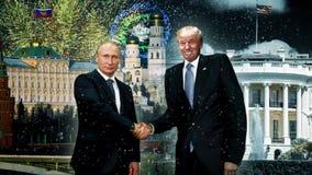 Putin- und Trumpfhändedruck stock video