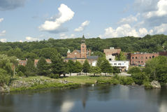 Putnam. Panorama View of Putnam, Connecticut by the Quinebaug River royalty free stock photos