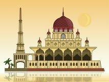 Putra-Moschee mit Mond lizenzfreie stockbilder