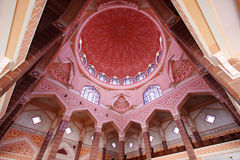 The Putra Mosque. Dome interior view, The Putra Mosque is one of the prominent landmarks of Putrajaya Royalty Free Stock Image
