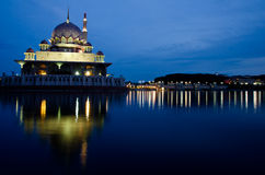 Putra Mosque. View of a mosque at Putrajaya after sunset Royalty Free Stock Photo