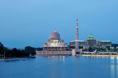 Putra Mosque. Beautiful view of Putra mosque and federal building at night time, Putra jaya. Malaysia Stock Photos