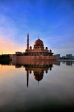 Putra mosque during blue hour. The Putra Mosque, or Masjid Putra in Malay language, is the principal mosque of Putrajaya, Malaysia Royalty Free Stock Photo
