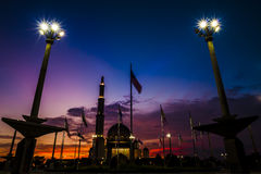 Putra Mosque and firy sky sunset Stock Photo