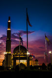 Putra Mosque and firy sky sunset Royalty Free Stock Photography