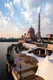 View of Putra Mosque during golden hour. Portrait Orientation royalty free stock image