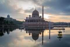 Putra mosque from the lakeside view. Stock Photos