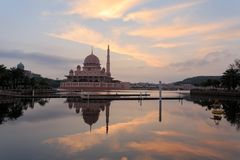 Putra mosque from the lakeside view. Royalty Free Stock Photo