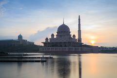 Putra Mosque from the lakeside view. Royalty Free Stock Photography