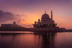 Putra Mosque from the lakeside view. Stock Images
