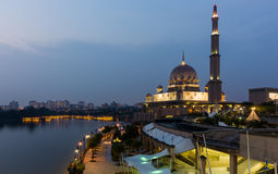Putra Mosque in Malaysia. Scenic view of the Putra or Pink Mosque at twilight in Putrajaya, Malaysia Stock Images
