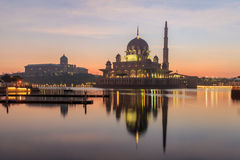 Putra Mosque and Malaysian Prime Minister office during sunrise in Putrajaya, Malaysia Stock Images