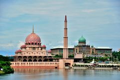 Putra Mosque. In Putrajaya on the lake Royalty Free Stock Images