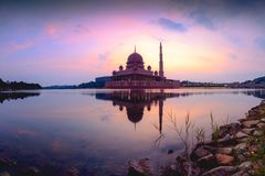 Putra mosque. During sunrise, Malaysia Stock Images