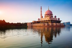 Putra mosque. During sunrise with reflection, Malaysia Royalty Free Stock Photos