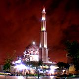 Putra Mosque. Putrajaya Mosque at night. One of attractive place to visit in Putrajaya, Malaysia stock image