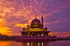 Putra Mosque and Sunrise. Putra Mosque in Putrajaya, Malaysia in a beautiful sunrise Stock Photos