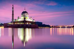 Putra mosque. During sunrise with reflection, Malaysia Royalty Free Stock Photo