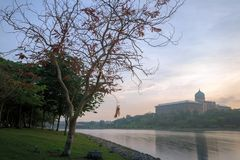 Putra Mosque from the lakeside view. Royalty Free Stock Image