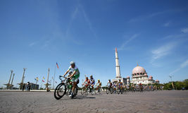 Putrajaya. With landmark Putra Mosque and cyclists participating in Le Tour de Langkawi, 2007 stock photo