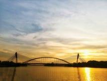 Concrete bridge captured during sunset royalty free stock photos
