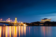 Putrajaya Bridge at Dawn. Putrajaya International Convention Centre (PICC) and Seri Gemilang Bridge is the landmark of Malaysian modernization as one of the Royalty Free Stock Photography