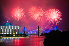 Putrajaya-Feuerwerks-Wettbewerb 2013 Stockfotos