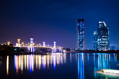 Putrajaya, Malaysia Cityscape. Modern office building and a bridge n Putrajaya at night Stock Photos