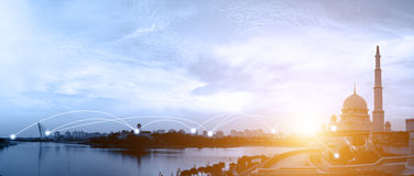 Putrajaya, Malaysia cityscape and network connection concept Royalty Free Stock Photography
