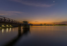 Putrajaya, Malaysia 21 Feb 2015 : Government buildings views from the damp park at Putrajaya during night. Stock Photography