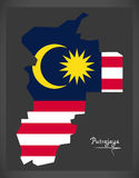 Putrajaya Malaysia map with Malaysian national flag illustration Royalty Free Stock Photos