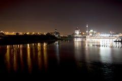 Putrajaya mosque at night. Taken by the lake from the bridge Royalty Free Stock Photos
