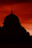 Putrajaya mosque silhouette with red sky Royalty Free Stock Images