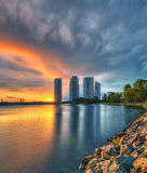 Great architecture at Putrajaya during sunset and thunderstorm. Stock Photo