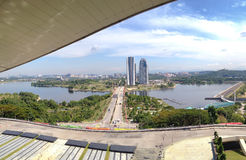 Putrajaya Pullman lakeside. Landscape view of Putrajaya Pullman lakeside and dam from high angle view with white and blue skies during daytime Royalty Free Stock Photo