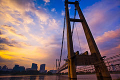 Putraya Malaysia Cityscape. Putrajaya unfinished monorail bridge at sunrise Stock Image