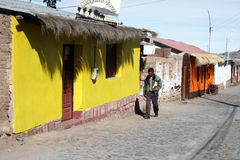 Putre. A local man is walking in the andean town of putre in chile Royalty Free Stock Photography